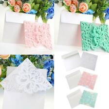 10 Sets Flower Turquoise/Pink/White Lace Effect Invitation Cards Wedding Party