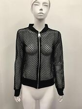 Womens Ladies Lace Crochet Zipper Cardigan Coat Jacket Blazer Top  UK 8-14