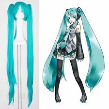 New Vocaloid Hatsune Miku 2 Ponytails Light Blue/Green Party Cosplay Wig Show