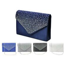Diamonte Envelope Clutches Shoulder Bag Purse Womens Fashion Shoulder 5 Colors