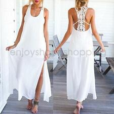 Sexy Women Boho Bohemian Lace Hollow-out Side Slit Maxi Dress for Holiday Beach