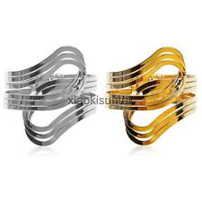 Unisex Wide Metal Wristband Open Hand Cuff Bracelet Bangle Armlet-Gold/Silver