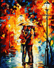 Hand Painted Design Tapestry Needlepoint Canvas - Lover & Rain love