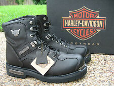 NEW Mens Harley Davidson Baker Black Leather Lace-Up Motorcycle Boots D96083