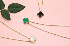 Lucky clover mother of pearl/ malachite/ black onyx necklace 18k gold plated