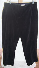 Coldwater Creek Black Whisper Corduroy Trouser Fit Pants Misses Size 18W