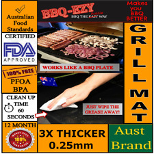 BBQ GRILL MAT RIGID (3 x Thicker) Reusable TEFLON LINER +Money Back Guarantee