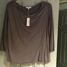 James Perse Cowl Neck Collage Tee Spruce NWT $135 Size JP1-4 Cotton Blend