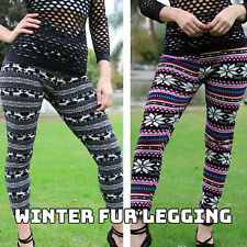 Flees Lined Leggings Winter Tribal Print Thick Fleece Stretch Pants -One Size TD