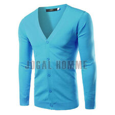 Mens Slim Button V-Neck Knit Casual Jumper Sweater Cardigan Coat Jacket Tops