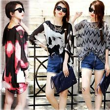 Women's Batwing Top Dolman Casual T-Shirt Blouse Chiffon Shirt Long Sleeve New