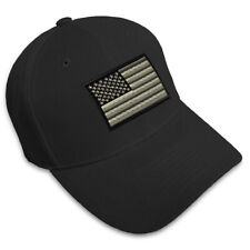 Black White American Flag Embroidery Embroidered Adjustable Hat Baseball Cap
