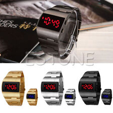 Men's Iron Military Digital Display Mirror Red/Blue LED Golden/Silver Watches