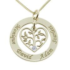 925 Solid Silver Filigree Heart Family Disc Pendant with Crystal & Chain Option