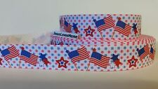 "Grosgrain Ribbon, America USA Flags & Patriotic Stars on Polka Dots 7/8"" Wide"
