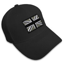 British Flag Black White Embroidery Embroidered Adjustable Hat Baseball Cap