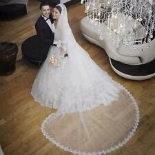 2 Tier Bridal Wedding Bride Veil Cathedral Lace edge 300CM Long With Comb AV046