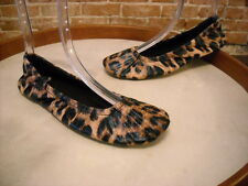 Foot Petals Leopard Quilted Commuter Travel Ballet Flats NEW