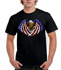 American Flag Bald Eagle Printed T-Shirt (Sizes S-5XL)