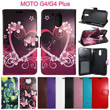 For Motorola Moto G4 / G4 Plus Flip Wallet Leather Case Cover Pouch Card Holder