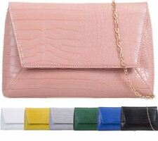 NEW LADIES FAUX LEATHER CROC SNAKE SKIN CLUTCH BAG SHOULDER CHAIN EVENING BAG