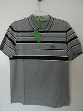 NWT HUGO BOSS PADDY 3 MENS POLO SHIRT GRAY BLACK WHITE STRIPES $135+ Sz L, XL