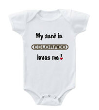 My Aunt in CUSTOM STATE Loves me Infant Toddler Baby Cotton Bodysuit One Piece