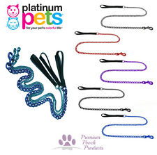 Platinum Pets LARGE Chain Dog Lead 1.2m (4ft) long Nylon handle Various colours