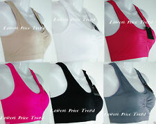 PACK of 6 pcs Sports Bras,Racerback Wire-Free Removable Pads ONE SIZE 5512BLPP