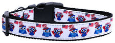 Patriotic Dog Collar, American Owls, 4th of July, Pet Collar, Red White and Blue