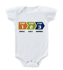 Step 1 Crawl / Step 2 Walk / Step 3 Marines Toddler Baby Bodysuit One Piece
