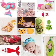 Newborn Baby Girl Boy Crochet Knit Costume Clothes Photo Photography Prop Hat