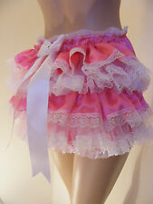 SISSY ADULT BABY CERISE SATIN RUFFLE BUM DIAPER COVER PANTIES WATERPROOF OPTION