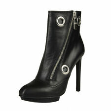 Alexander Mcqueen Black Leather High Heel Ankle Boots Shoes Sz 5 6 6.5 7 8 9