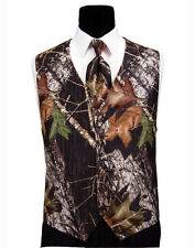 NEW 2XL Mossy Oak Tuxedo Vest Tie & Hankie Alpine Break Up Camo Formal XXL