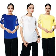 New Women Ladies Blouse Short Sleeve Loose Solid Tops Shirt Tee Plus Size N3W0