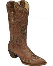 Corral Ladies Snip Toe Distressed Leather Cowboy Western Boots Cognac A2948