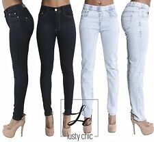 Women Ladies Jeans High Waisted Mid Rise Skinny Jeggings Denim size 8 10 12 14