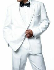 Mens Modern Fit Solid White Two Button Tuxedo Tux Suit