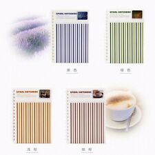 A6 Personal Stripe Spiral Coil Plastic Cover Notebook Diary Journal NotePad #UK