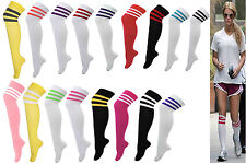 Girl, Women's 3 Stripe Over Knee Thigh High Long Sports Referee Socks 20 Colours