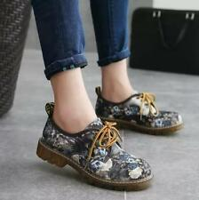 2016 Retro Womens Lace Up Floral Ankle Boots Fashion Flat Oxfords Shoes British