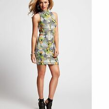 New Guess Women's Sleeveless Geo Floral Detail Tropical-Print Cutout Knit Dress