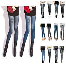 Sexy Women Leggings Jeans Look Jeggings Skinny Stretchy Pants Trousers