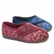 LADIES WIDE FIT ORTHOPEDIC WASHABLE VELCRO SLIPPERS SHOES,WINE OR NAVY SIZE 3-8