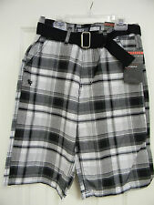 "Boy's South Pole Southpole Authentic ""Black Plaid"" Shorts RN82628"