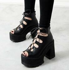 2016 Womens Gladiator Chunky High Heels Punk Shoes Sandals Lace Up Platform New