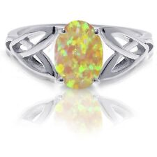 Swedish Yellow Fire Opal Infinity Celtic Oval Birthstone Sterling Silver Ring