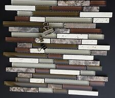 Cappuccino Stone tile and Glass Mix Linear Mosaic Tile Kitchen Backsplash (Z16)