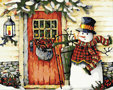 CANVAS TAPESTRY NEEDLEPOINT PRINTED  - Cute Snowman & Cottage